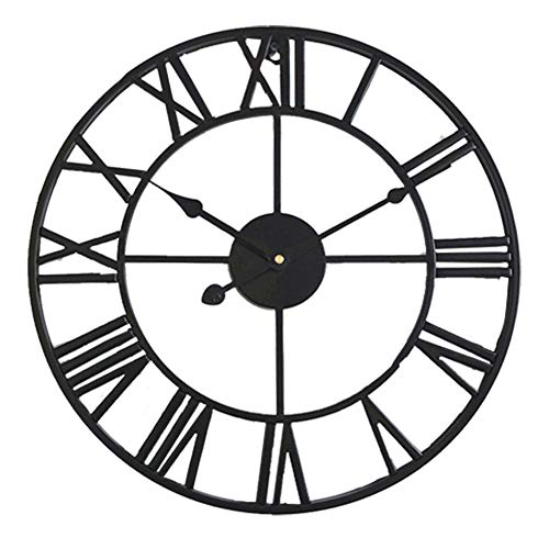 HOSTON 16 inch large wall clock silent Non-ticking battery operated Vintage metal Roman numerals round Modern clocks for living room decor,Company,Bedroom, kitchen,School,Cafe (Black, 40cm)