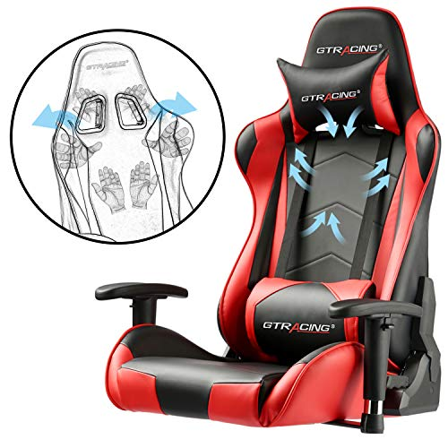 GTRACING Gaming Chair Racing Office Computer Game Chair Ergonomic Backrest and Seat Height Adjustment Recliner Swivel Rocker with Headrest and Lumbar Pillow E-Sports Chair Red