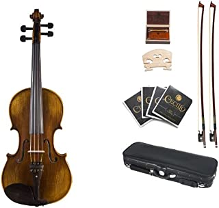 Cecilio 16.5 Inch Hand Oil Rubbed Highly Flamed 2-Piece Back Solidwood Viola, CVA-600