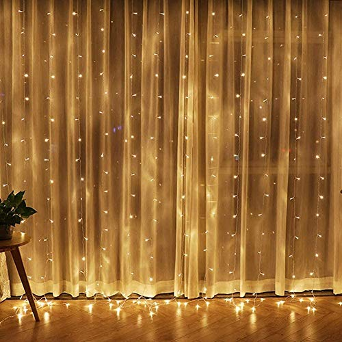 CHENJIA 300 LED Window Curtain String Light for Christmas Wedding Party Home Garden Bedroom Outdoor Indoor Wall Decorations, Warm White