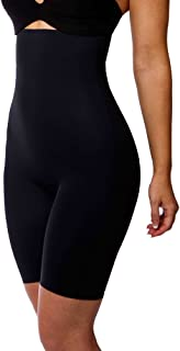 LaSculpte Shapewear for Women Tummy Control Full Body Shaper High Waisted Shorts Mid Thigh Slimmer Seamless Microfiber, Black/Nude, 10-26