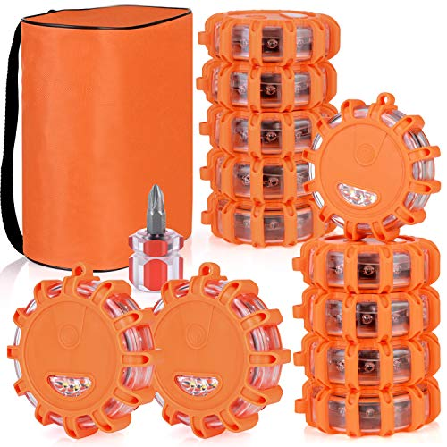Linkitom 12 Pack LED Road Flare, Emergency Roadside Safety Beacon Disc Warning Flare Light Kit for Trucks, Vehicles & Boat