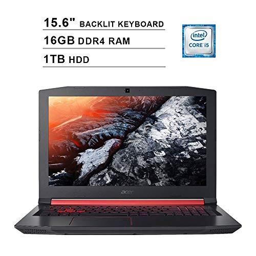 2020 Acer Nitro 5 AN515 15.6 Inch FHD Gaming Laptop (Intel Quad Core i5-8300H up to 4.0 GHz, 16GB DDR4 RAM, 1TB HDD, NVIDIA GeForce GTX 1050 Ti, Backlit Keyboard, Windows 10) (Shale Black)