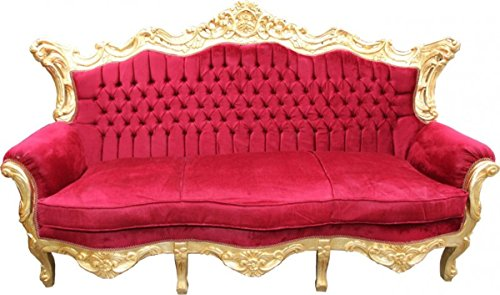 Barock Sofa Master Bordeaux Rot/Gold Mod2 - Wohnzimmer Möbel Loung Couch