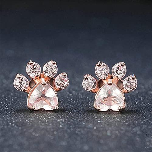 hcma Pendientes de botón con Forma de Pata de Oso de circón de Cristal Lindo Chapado en Oro Rosa de 18 Quilates de Moda