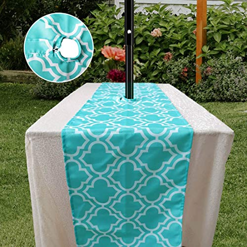 Eternal Beauty Teal Geometric Table Runner with Zipper for Outdoor Patio Table Decorations, 14 X 108 inches