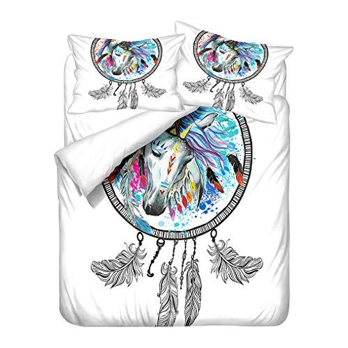 Housse de Couette Attrapeur de Rêves 1 Personnes Parure de Lit Animaux Dragon Cheval Papillon Souris Microfibre Zippée Enfant Garçon Fille (Style 4, 140x200 cm + 50x75 cm * 1)