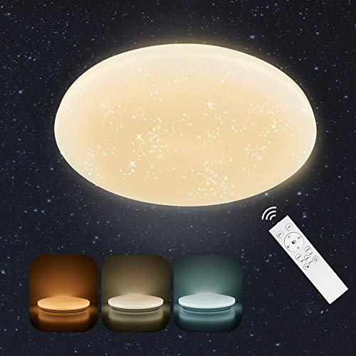 Anten Starry Sky|24W LED sternenhimmel deckenlampe, led lampe mit fernbedienung,dimmbar Deckelampe Rund mit Nachtlichtfunktion für Wohnzimmer,Schlafzimmer,Balkon,Küche,Flur Keller,weiß,Ø33cm