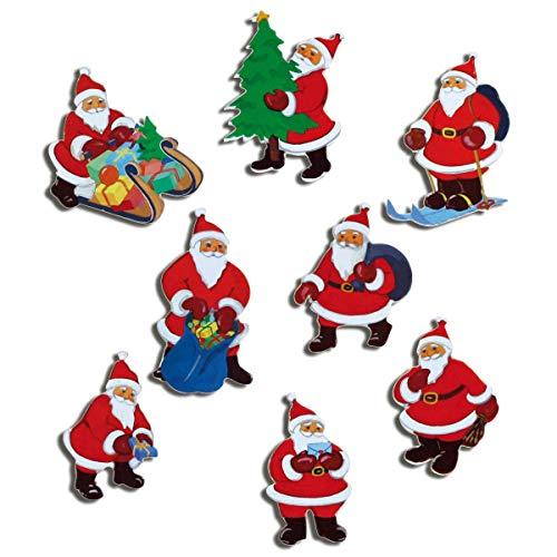 Kühlschrankmagnete Weihnachten Magnete für Magnettafel Kinder stark 8er Set Weihnachtsmann lustig mit Motiv Weihnachtsmänner Rot