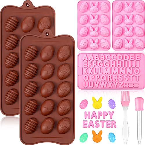7 Pieces Easter Egg and Rabbit Bunny Silicone Molds and Letter Baking Mold Liquid Dropper Basting Pastry Brush for Easter Baking Chocolate Jelly Mousse Fondant Decoration Party Supplies