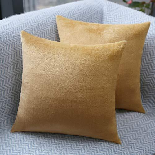 Fittia Funda de almohada de terciopelo ultra suave con cierre oculto para sala de estar, dormitorio, sofá, coche, camello, 40 x 40 cm, 2 unidades