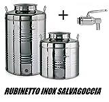 Megashopitalia Contenitore Bidone Fusto per Olio in Acciaio Inox 15 30 50 Litri Made in Italy con Guarnizione per il Tappo e Rubinetto in Acciaio Inox Salvagoccia INCLUSO (30 Litri)