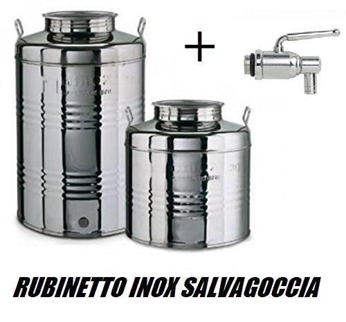 Megashopitalia Contenitore Bidone Fusto per Olio in Acciaio Inox 15 30 50 Litri Made in Italy con Guarnizione per Il Tappo e Rubinetto in Acciaio Inox Salvagoccia Incluso (50 Litri)