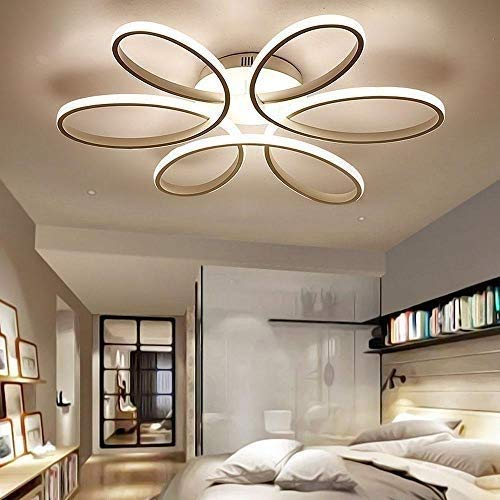 Lighting 93W D74cm-Dimming 3000K-6000K LED Flower Shape Ceiling Light Creative Acrylic Aluminum Lampshade Modern Elegant Matte White Ceiling Lamp Living Room Dining Room Bedroom Ceiling Light Indoor L 8