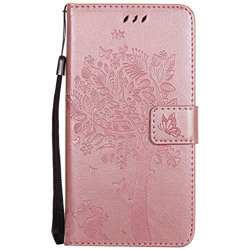 Snow Color [Moto G5S Plus Hülle, Premium Leder Tasche Flip Wallet Hülle [Standfunktion] [Kartenfächern] PU-Leder Schutzhülle Brieftasche Handyhülle für Motorola Moto G5SPlus - COKT011653 Rosa Gold