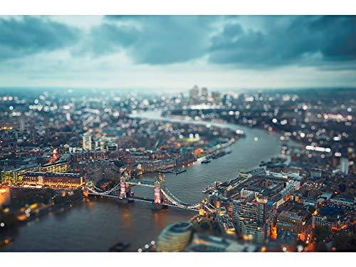 Oedim Papier Peint Auto-Adhésif | Crépuscule sur la Tamise à Londres | 500 x 300 cm | Décoration muraux de Chambre