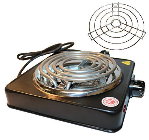 1500W Elektrischer Kohleanzünder für Shisha - Kohle, 5 Stufig regulierbar, Überhitzungsschutz, Edelstahl-Heizspirale, Schutzgitter, Grillanzünder (schwarz)