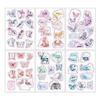 moin moin シール シート 和紙シリーズ | アニマル 動物 蝶 ちょうちょ 鳥 フラミンゴ 海の生き物 | 6枚セット 2007sl37