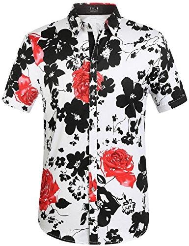 SSLR Men's Cotton Button Down Short Sleeve Hawaiian Shirt (Medium, White Red (168-161))