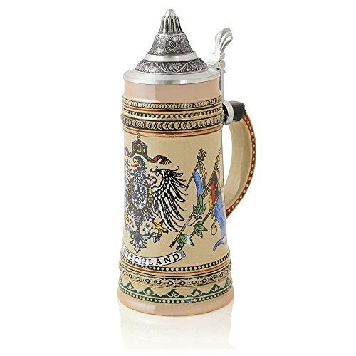 German Beer Stein'Eagle with flags - Deutschland' | Traditional Bavarian Beer Mug with Ornate Metal Lid | 0.5 liter (1 pt.) | beige | Made in Germany