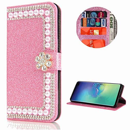 Miagon Hülle Glitzer für Huawei P30 Lite,Diamant Strass Perle Blume PU Leder Handyhülle Ständer Funktion Schutzhülle Brieftasche Cover,Rosa