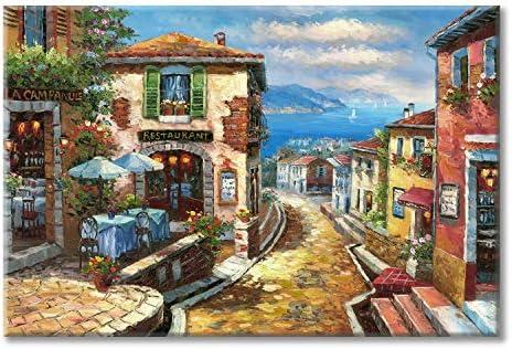 Coastal Cityscape Oil Painting Artwork Italian Town Canvas Wall Art Mediterranean Style Street product image