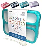 Bento Box Lunch-Box Containers for Kids, Adults | 6 Compartment Lunch-Boxes | Leakproof School Bentobox, Snack or Meal Portion Container | BPA-Free, Teal