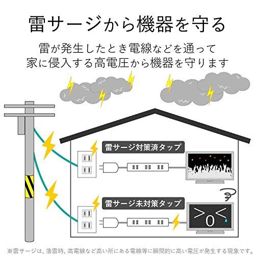 エレコム電源タップ雷ガード光らない個別スイッチスイングプラグ6個口5mホワイトT-K5B-2650WH