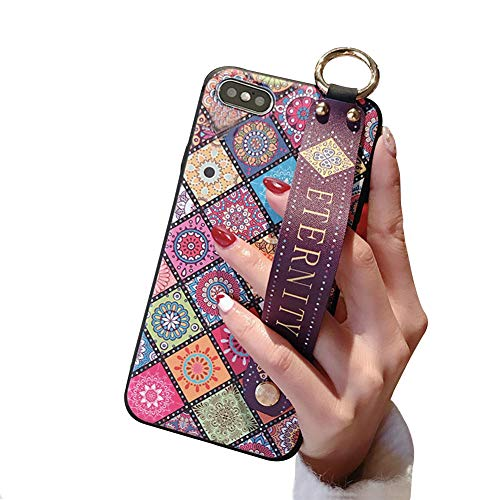 iPhone5s ケース, iPhone5 ケース iPhone SE ケース かわいい 人気 花柄 花 美ケース上絵 薄型 耐衝撃 リストストラップキックスタンドカバー付き アップル アイフォン5/5s/SE4.0インチ用 (iPhone5/5s/SE)(Not for iPhone SE 2020)