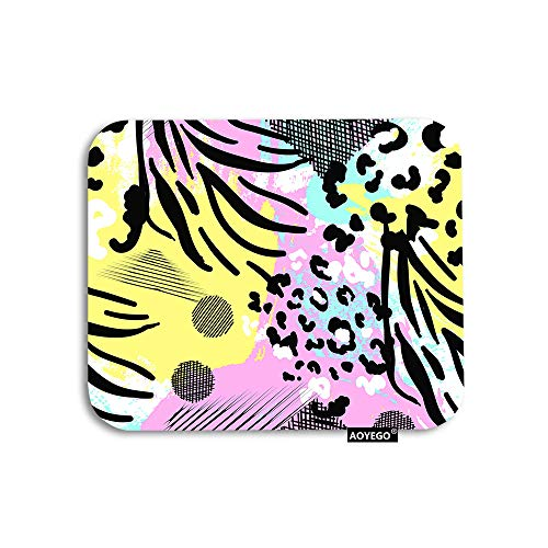 AOYEGO Colorful Leopard Mouse Pad Animal Print Doodle Circle Polka Dots Zebra Stripes Gaming Mousepad Rubber Large Pad Non-Slip for Computer Laptop Office Work Desk 9.5x7.9 Inch
