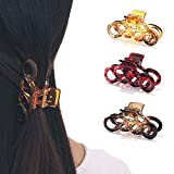Runmi Horquillas para el pelo con diseño de carey para mujeres y niñas (3 unidades)