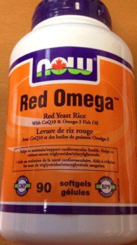 NOW Red Omega w/300mg RYR+CoQ10+Omega3 90 Softgels, 90 g