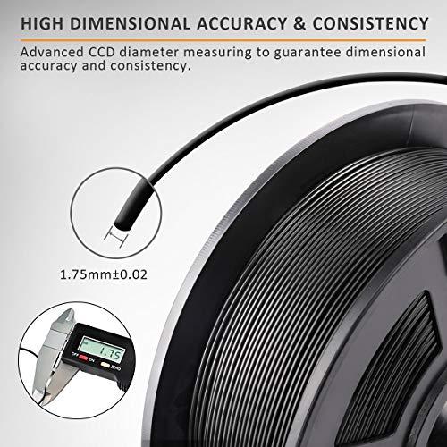 SUNLU Filamento PLA 1.75, Stampante 3D PLA Filamento 1kg Spool Tolleranza del diametro +/- 0,02 mm,PLA Nero