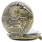 DIHAO Reloj de Bolsillo de Cuarzo de Serie de Motor de Locomotora Delantera de Tren de Bronce Retro para Hombre y Mujer, Collar de Cadena Colgante, Regalo