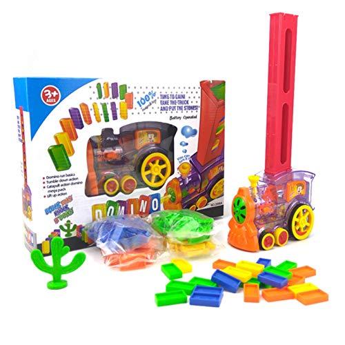JZDTMMAN Juego de Tren eléctrico de Colores 80 Piezas Juego de Juguete automático para Colocar Ladrillos para niños Juego de Mesa de dominó de Obra Maestra o niños