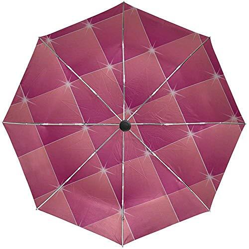 Automatische Regenschirm-Quadrat-Rauten-Rosa-Funkeln-Reise-bequemer winddichter wasserdichter faltender Auto-geöffneter Abschluss
