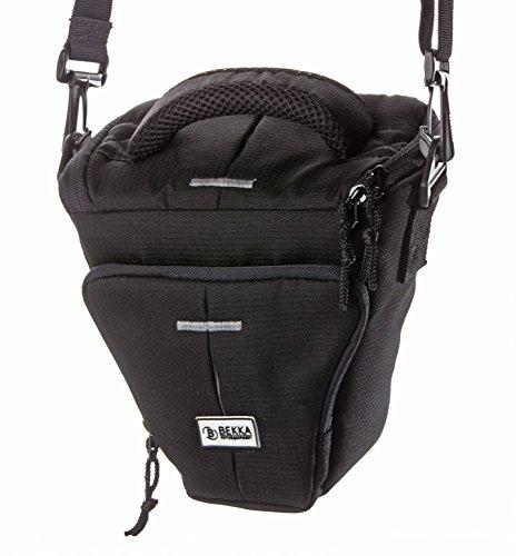 Pro Colt Systemkamera Tasche Klein (Fototasche Geeignet für Systemkameras inkl. Gürtelschlaufe, Staub- und Spritzwasserschutz, Tragegurt und Tragegriff und Zubehörfach,) Schwarz