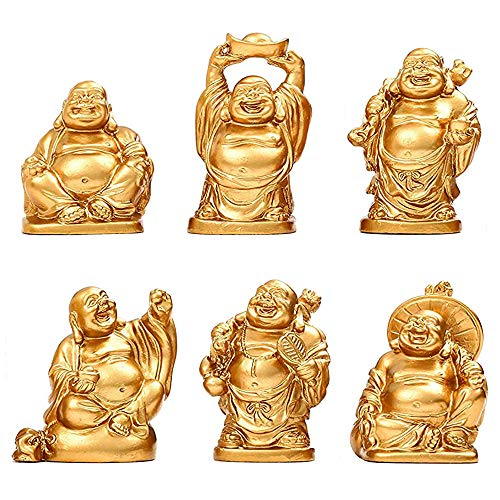 Talent Feng Shui 2in Golden Resin Laughing Buddha Statue Figurines Set of 6 (2in, Golden)