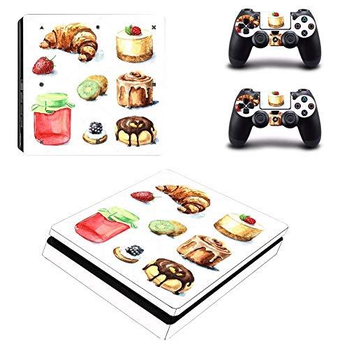 TSWEET Etiqueta de la Torta de la Comida Ps4 Etiqueta engomada Delgada de la Piel para la Consola de Playstation 4 y 2 Controladores Ps4 Etiqueta engomada Delgada de la Piel