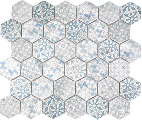 Mosaikfliese Keramik Hexagon Sechseck blau Thekenverkleidung Badewannenverkleidung Fliese Küche Wandverkleidung Küchenfliese WC
