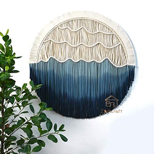 HUATAN Redondo Macrame Tapiz De Pared,gradiente Borla Bohemio Tapestry,Hecho A Mano Tejido Casa Decoración De Pared para Dormitorio Ornamentos De Pared C Diámetro:90cm(35.4inch)