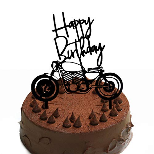 Gwolf Motorrad Cake Topper personalisierte Kuchen Plakat Dekoration Backen Kuchen Lokomotive Stil Plakat Party Dessert Dekoration