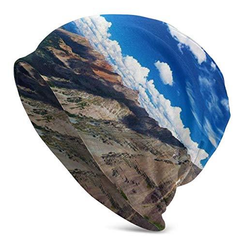 Beanie Hat, Nubes Blancas y montañas Gorros de algodón de Invierno Gorra de Calavera Unisex