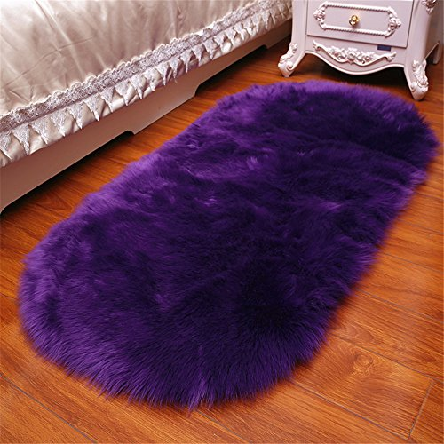 Long Faux Fur Artificial Skin Rectangle Fluffy Chair Seat Sofa Cover Carpet Mat Oval Shaggy Area Rug Living Bedroom Home Decoration (2ft x 3ft, Purple)