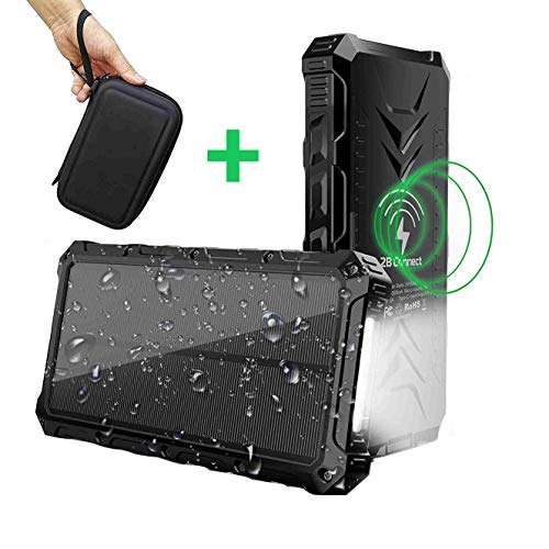 2BConnect Solar Power Bank Phone Charger Portable Qi Wireless 20000mAh, Outputs 5V/3A & Dual Inputs Type-C, High-Speed Rainproof LED Flashlight with PU Hard Travel Case