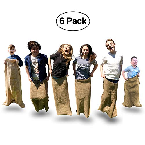 Elite Potato Sack Race Bags - 6 Quality Sack Race Bags for Kids Birthday Party Games, and Comes With a Compact Bag for Easy Storage. Great Family Games