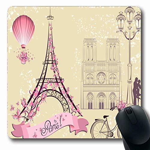Alfombrilla para computadora Lámpara para computadora portátil Eiffel París Parques románticos Tour de la Dama Francesa Torre del Amor Diseño de Dibujo Alfombrilla Antideslizante para Juegos