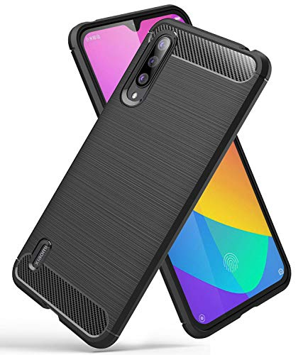YEESOON Capa para Xiaomi Mi A3, capa de proteção TPU ultra fina, macia, leve, design de fibra de carbono, capa traseira para Xiaomi Mi A3 (preta)