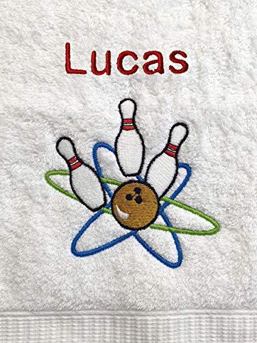 Bowling Handtuch bestickt mit Motiv und Name