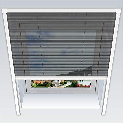 Nematek Fliegengitter Plissee für Dachfenster Insektenschutz Dachfensterplissee in weiß in verschiedenen Größen und Varianten (114 cm breit, Duo-Plissee)